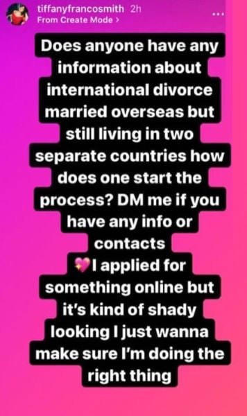 Tiffany Franco IG asks for divorce lawyer recs