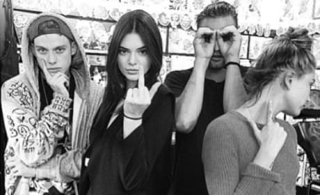Kendall Jenner with the Finger