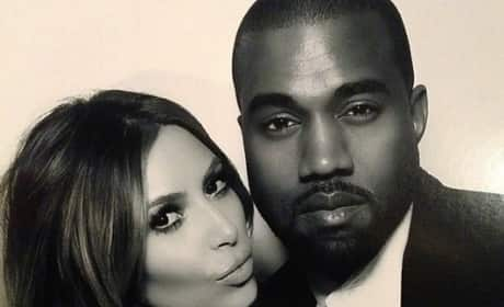 Kim Kardashian and Kanye West Pose