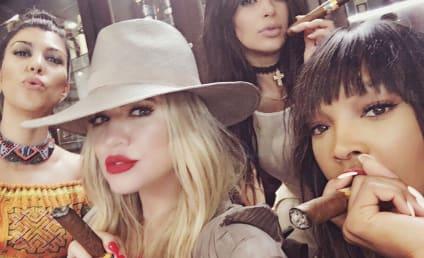 Kardashians Arrive in Cuba, Smoke Cigars