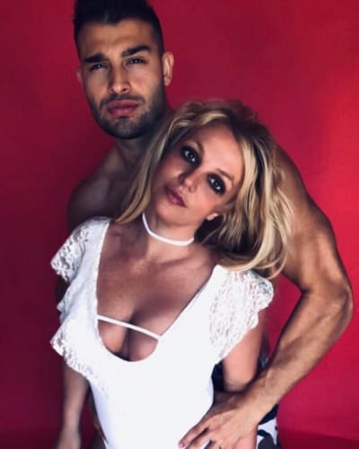 Britney Spears and Sam Asghari in Red