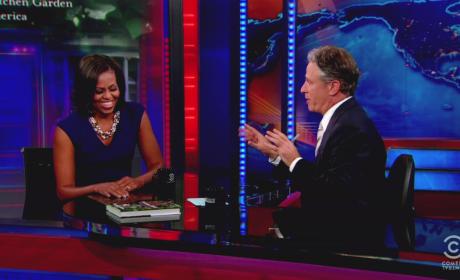 Michelle Obama and Jon Stewart