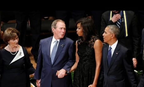 George Bush Dances To Battle Hymn Of The Republic During Dallas Memorial