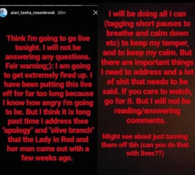 Tasha rosenbrook ig response leida apology