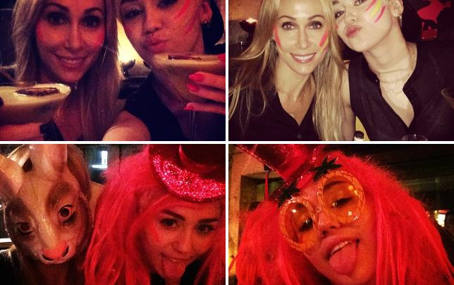 Miley and her mom drink