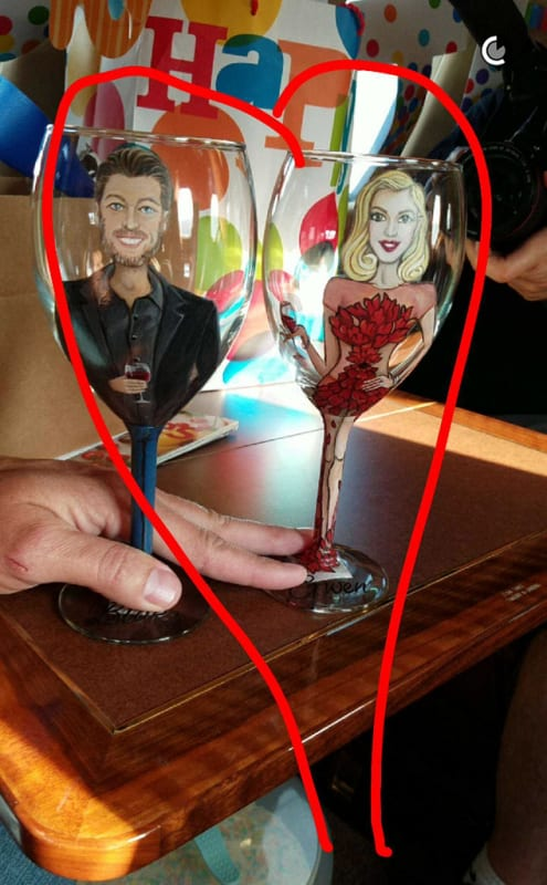 Blake and Gwen wine glasses are EXACTLY what he wanted