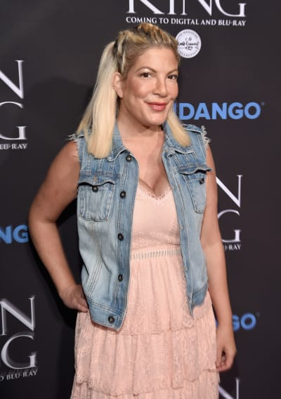 Tori Spelling in a Coat