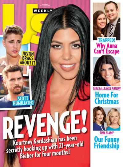 US weekly cover - Kourtney Kardashian and Justin Bieber
