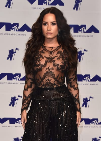 Demi Lovato Wears Black