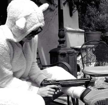 Khloe Kardashian Gun and Sheep Costume Photo