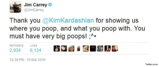 Jim Carrey tweet about Kim K's ass