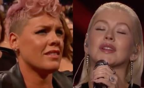 Christina Aguilera Honors Whitney Houston, Pink Denies Throwing Shade at AMA Performance