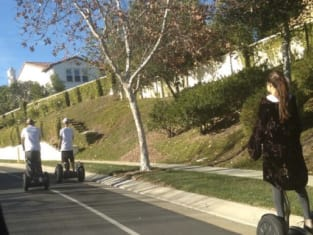 Justin and Selena on Segways