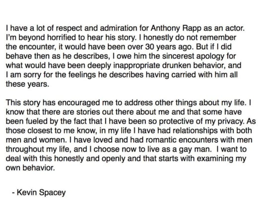 Spacey statement