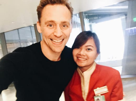 Tom Hiddleston Cathay Pacific Employee Pic