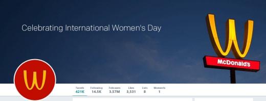 McDonald's Twitter Banner for International Women's Day