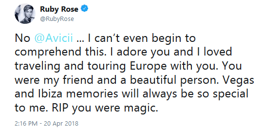 Ruby rose mourns avicii