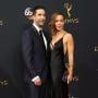 Zoe Buckman and David Schwimmer attend Emmys