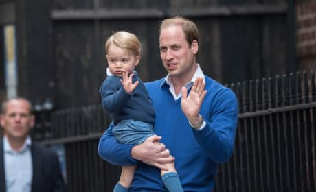 Prince George Waves To The Crowds Outside St. Mary's Hospital