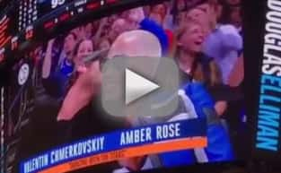 Amber Rose and Val Chmerkovskiy on the Kiss Cam