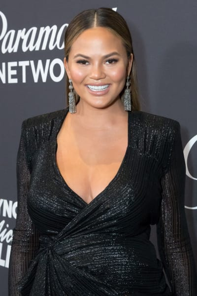 Chrissy Teigen, Pregnant and Smiling