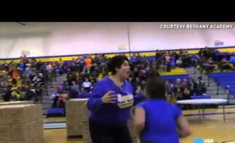 Mother Makes Most Miraculous Basketball Shot You'll Ever See