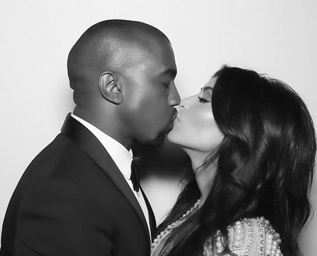 Kim Kardashian and Kanye West Kiss