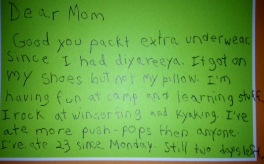 Kid Note From Camp, Part 1