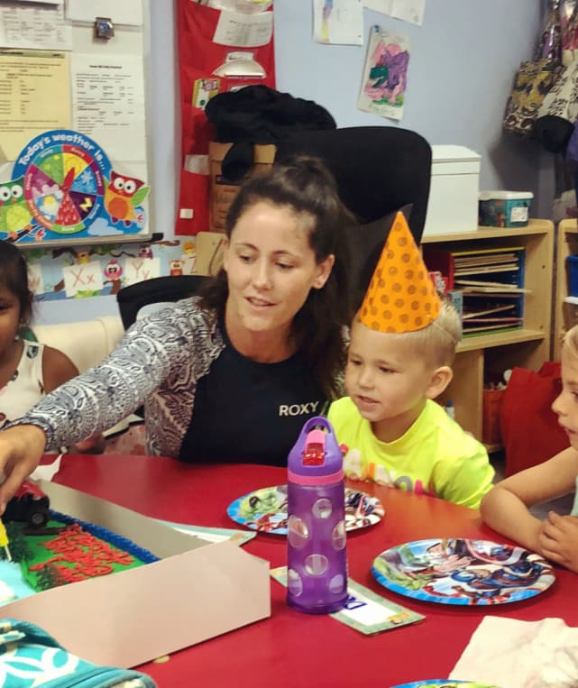 Jenelle evans and kaiser at daycare