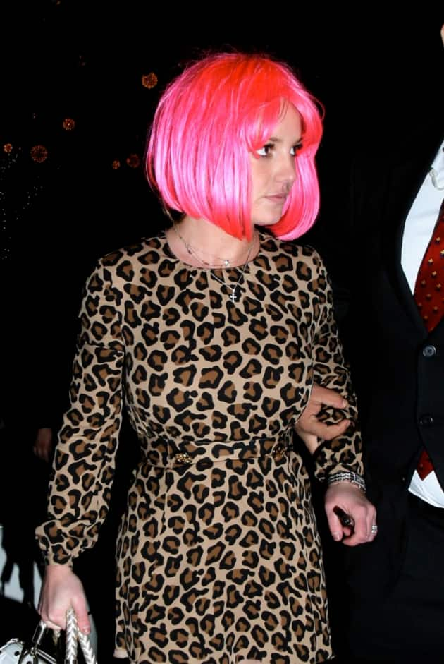 Britney Spears With a Pink Hair Wig