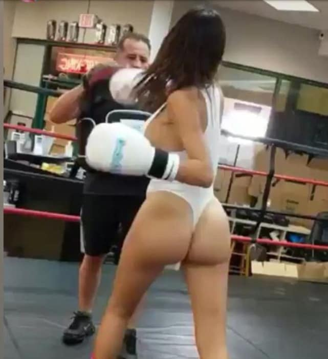 Farrah abrahm boxes in a thong