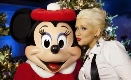 Christina Aguilera and Mickey Mouse