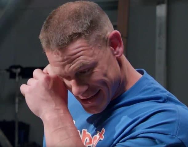 john cena receives surprise from fans  breaks down into