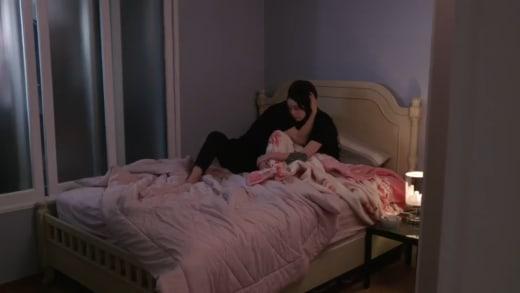 Jihoon Lee comforts Deavan Clegg after miscarriage