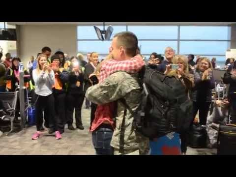 Air Force Airman Returns From Duty Shocks Girlfriend With