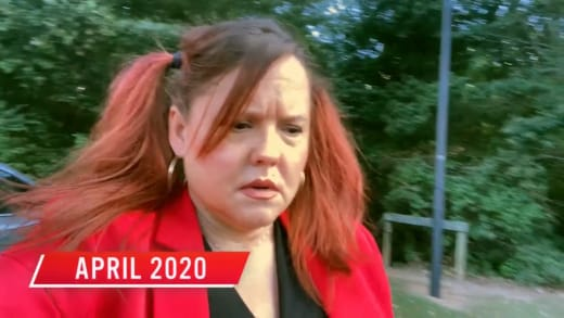 Rebecca Parrott in pigtails, April 2020, lost her ring