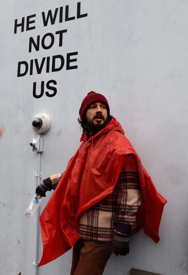 Shia LaBeouf Protest Photo