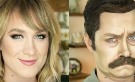 Makeup Artist Transforms Into Ron Swanson