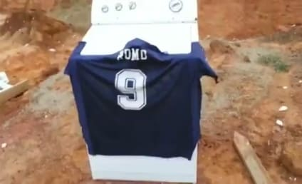Cowboys Fan Blows Up Romo Jersey in Front of Children