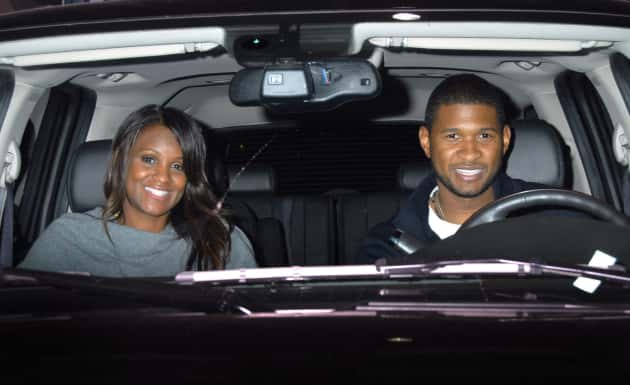 Usher and Tameka Foster in a Car