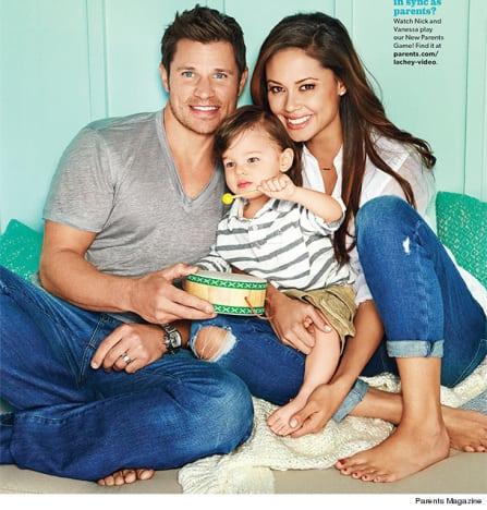 nick and vanessa lachey pose with toddler talk quotalone