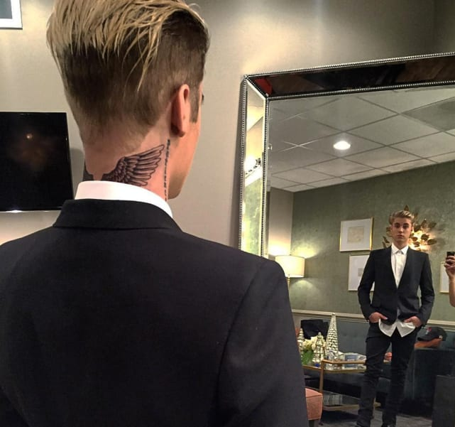 Justin Bieber Neck Tattoo Pic