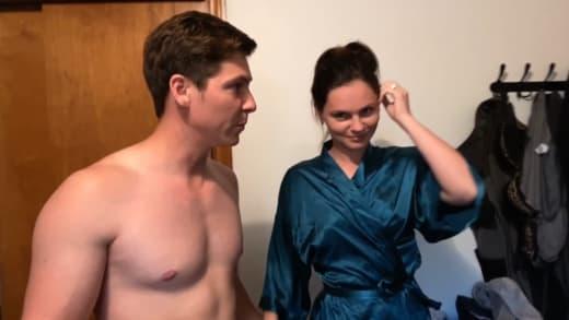 Brandon Gibbs and Julia Trubkina ready for bath tub