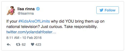 Yolanda Foster - Lisa Rinna Twitter feud 3
