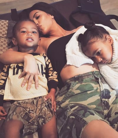 Kim Kardashian and 2 Kids