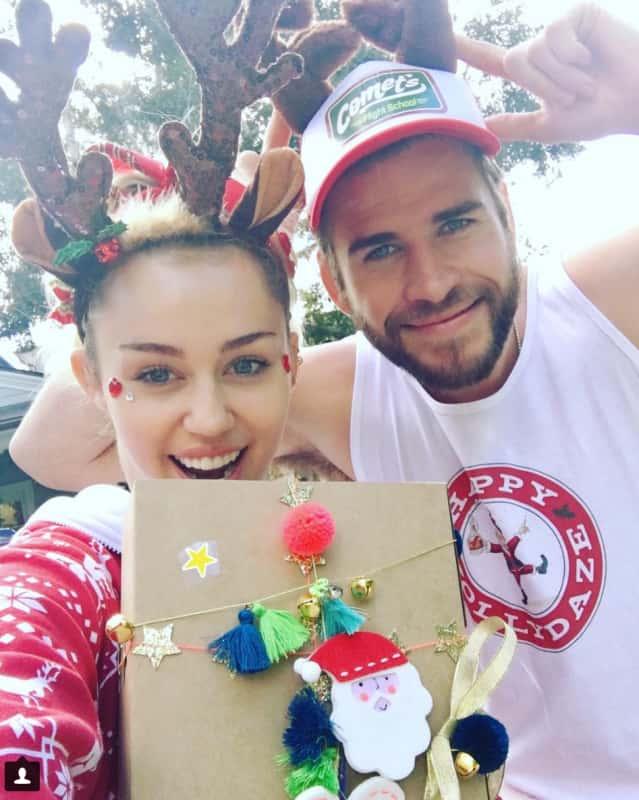 Miley cyrus and liam hemsworth on christmas