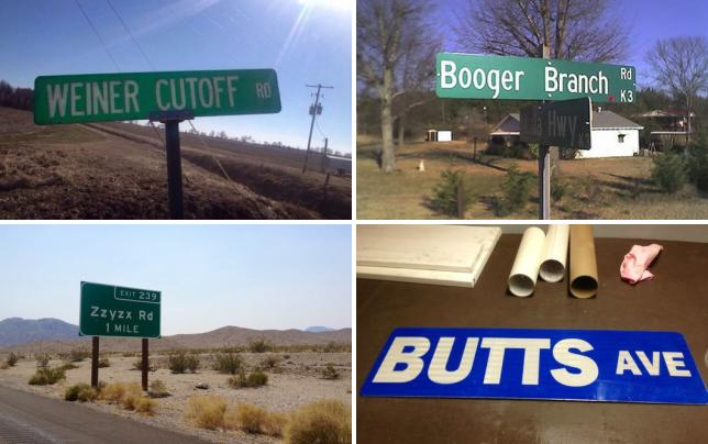 11 scandalous street signs weiner cutoff rd