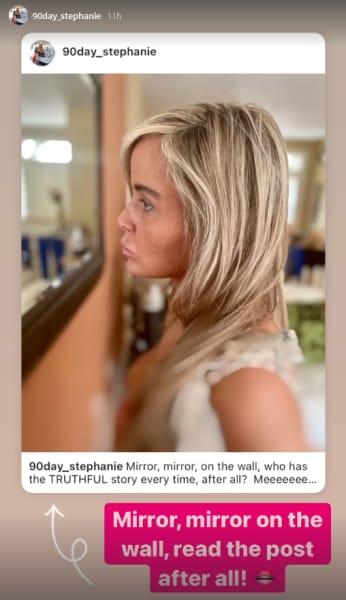 Stephanie Davison IG Story - mirror mirror, read my post