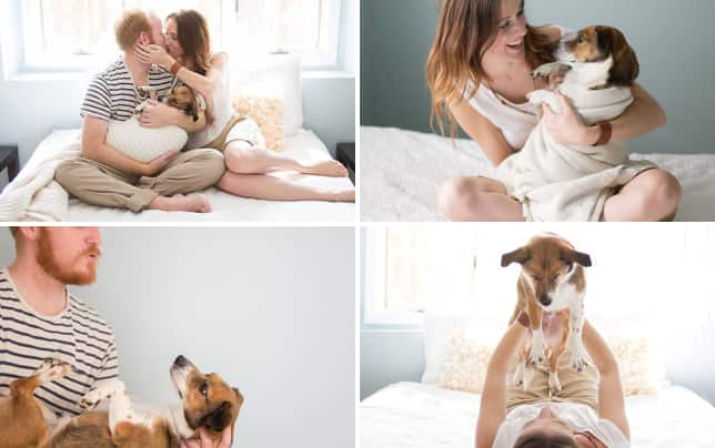 Couple cradles puppy like a baby one happy family