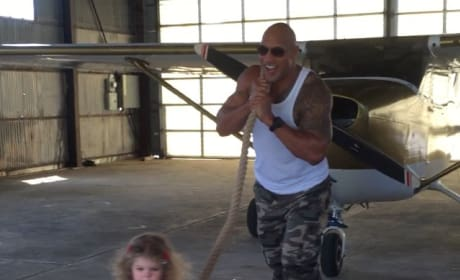 Dwayne Johnson Helps Toddler Think She's Pulling an Airplane